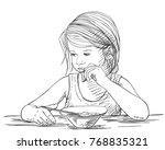 sketch of little girl eating... | Shutterstock .eps vector #768835321