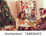 group of friends sitting next... | Shutterstock . vector #768836425