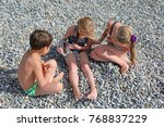 siblings have fun time on the... | Shutterstock . vector #768837229