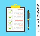 clipboard with green ticks... | Shutterstock .eps vector #768847339