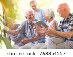 happy seniors from nursing... | Shutterstock . vector #768854557