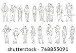 isolated  sketch of people  men ... | Shutterstock .eps vector #768855091