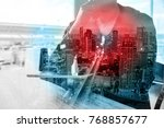 double exposure of man or male... | Shutterstock . vector #768857677
