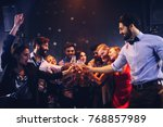 group of friends toasting with... | Shutterstock . vector #768857989