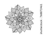 mandala. black and white round... | Shutterstock . vector #768872461