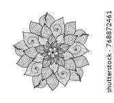 mandala. black and white round... | Shutterstock . vector #768872461