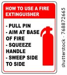 how to use a fire extinguisher... | Shutterstock . vector #768872665