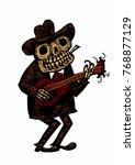 funny skeleton playing guitar. ...   Shutterstock .eps vector #768877129