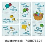 collection of 7 stickers with... | Shutterstock .eps vector #768878824