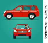 red car two angle set. car with ... | Shutterstock .eps vector #768891397