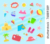 collection of summer symbols | Shutterstock .eps vector #76889389