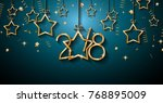 2018 happy new year background... | Shutterstock .eps vector #768895009