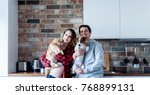 young family  pregnant woman... | Shutterstock . vector #768899131