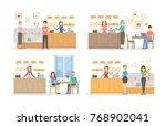 bakery cafe set. illustrations... | Shutterstock . vector #768902041