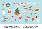 merry christmas set. santa...   Shutterstock . vector #768902299