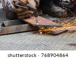 manual  worker cut steel with... | Shutterstock . vector #768904864