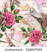 hand written notes  paper... | Shutterstock . vector #768907099