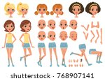 cirl character creation set ... | Shutterstock .eps vector #768907141