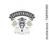 sport motorcycle logo template... | Shutterstock .eps vector #768909385