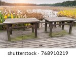 picnic table in a picturesque... | Shutterstock . vector #768910219