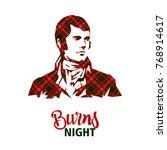burns night supper card.  | Shutterstock .eps vector #768914617