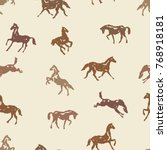 pattern with silhouette horses...   Shutterstock .eps vector #768918181