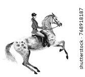 horseback rider and rearing... | Shutterstock . vector #768918187