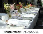 dinner table setting | Shutterstock . vector #768920011