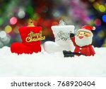 santa clause sitting on the... | Shutterstock . vector #768920404