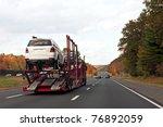 an automotive car carrier truck ... | Shutterstock . vector #76892059