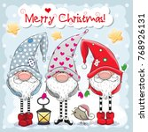 greeting christmas card with... | Shutterstock .eps vector #768926131