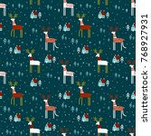 seamless vector pattern with... | Shutterstock .eps vector #768927931