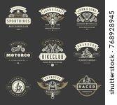 motorcycles logos templates... | Shutterstock .eps vector #768928945
