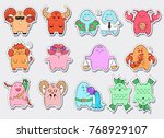 zodiac icons. collection of... | Shutterstock .eps vector #768929107