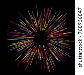 colorful fireworks radiating... | Shutterstock .eps vector #768936847