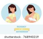 motherhood. a mother with a... | Shutterstock .eps vector #768940219