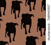 black dog seamless pattern on a ... | Shutterstock .eps vector #768940507
