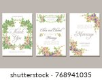 set of card with flower rose... | Shutterstock . vector #768941035