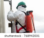 disinfection specialist with...   Shutterstock . vector #768942031