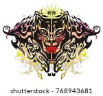grunge tribal scary cat head.... | Shutterstock .eps vector #768943681