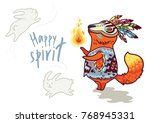 happy spirit. baby fox shaman... | Shutterstock .eps vector #768945331