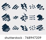 brush painted stains vector set | Shutterstock .eps vector #768947209