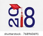 red 2018 graduation cap and... | Shutterstock . vector #768960691