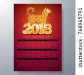 vector calendar 2018 template... | Shutterstock .eps vector #768965791