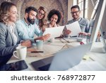 team meeting in office.business ... | Shutterstock . vector #768972877