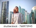 young beautiful fashion hijab... | Shutterstock . vector #768973945