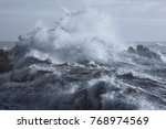 rough sea on the rocky northern ... | Shutterstock . vector #768974569