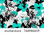abstract floral seamless... | Shutterstock . vector #768980659