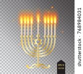 menorah icon. hanukkah menorah... | Shutterstock .eps vector #768984031