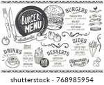 burger food menu for restaurant ... | Shutterstock .eps vector #768985954